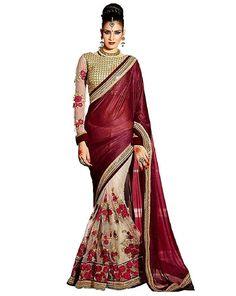 Buy Voguish Maroon GalaxyHalf N Half Saree at happydeal18.com, India's biggest shopping store