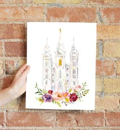 Salt Lake City Temple Watercolor by SweetnSandy on Etsy