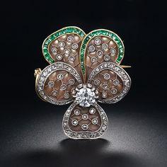 Gorgeous Art Nouveau Plique-a-Jour Diamond and Emerald Pansy Brooch, ca. 1900