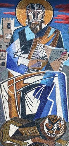 Mosaic at the Church of St. Mark, Cortona, Italy by @artistseverini #fineart #cubism