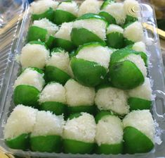 Cocadas en limones. Limes, with the pulp scraped away, candied and stuffed with cocada (coconut candy).