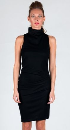 Halston Heritage Sleeveless Mock Neck Dress in Black