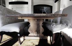 Trestle Table Violin base Greytone Barnwood Mennonite Built Trestle Table, Wood Tables, Dining Bench, Reclaimed Wood Furniture, Furniture Making, Barn Wood, Violin, Kitchens, Floor Plans