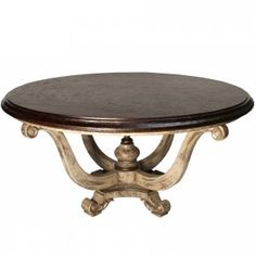 Elegance and rustic charm combine in the French Country Round Urn Table to create a look that is inviting and beautiful. This round dining table features a thick wood top and a carved urn based with a finial in the middle. French Country Dining Chairs, French Country Furniture, French Table, French Country House, French Country Decorating, Rustic French, Country Chic, Round Dining Table, Rustic Wood