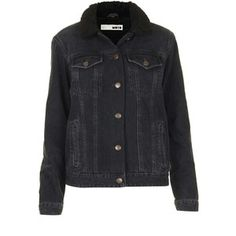 TOPSHOP MOTO Black Borg Denim Jacket