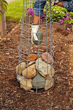 Elevate Your Container Garden With a Gabion Plant Stand - Gartenkunst Garden Yard Ideas, Diy Garden Projects, Garden Crafts, Garden Planters, Lawn And Garden, Garden Art, Garden Design, Garden Junk, Garden Whimsy