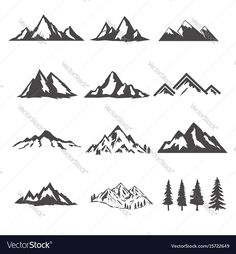 set of the mountains illustrations isolated on white background. Design elements for logo, label, emblem, sign, brand mark. Vector illustration. Download a Free Preview or High Quality Adobe Illustrator Ai, EPS, PDF and High Resolution JPEG versions.