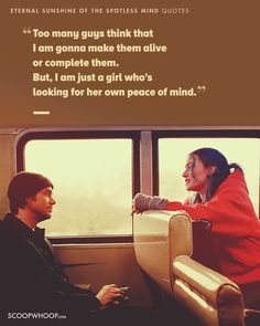 15 Eternal Sunshine Of The Spotless Mind Quotes Which Show Love Is An Imperfectly Perfect Feeling Tv Show Quotes, Top Quotes, Film Quotes, Words Quotes, Real Quotes, Clementine Eternal Sunshine, Cinema Quotes, Movie Dialogues, Quotes About Everything