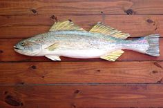 "Weakfish 34"" chainsaw wooden fish taxidermy carving ocean fishing sport sculpture rustic cottage home decor realistic wall mount rustic art by oceanarts10 on Etsy"