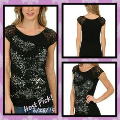 ☆HPx2!☆ NWT- Black sequined tee w lace cap sleeves ☆HP x 2!☆ Always shine in this dazzling black short sleeve shirt adorned with silver embellishments.  For extra awesomeness,  this rockin' top has bell sleeves made of intricate black lace. Rock and Roll Cowgirl Tops