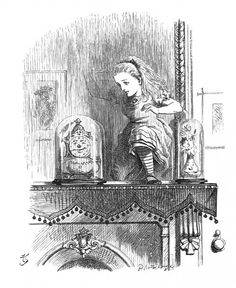 """'In another moment Alice was through the glass,' by Sir John Tenniel from Lewis Carroll's """"Alice Through The Looking Glass"""" (original wood engraving)"""