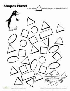 Penguin Shape Maze Worksheet