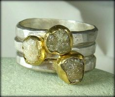 Rough Diamond  Stacking rings,  Gemstone Rings, Gold, silver and raw  diamond engagement rings, statement rings