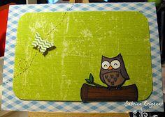 Handmade card with owl - Lawn Fawn.