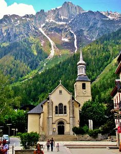 This is the church where my husband and I were married and I was the most beautiful bride ever seen there. Chamonix, France, St. Michel Church, French Alps
