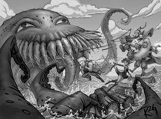 Cow And Cheese Art: Final Fantasy 6 Fan Art - Lethe River Ultros . Final Fantasy 3, Fantasy Series, Cheese Art, Best Rpg, Nerd Art, Demonology, Video Game Art, Fantasy Artwork, Awesome Art