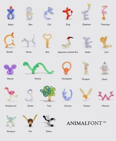Animal font with balloons
