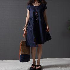 Vestidos de linho Casual Regular verão, loose women vintage plissado bordado irregular algodão feminino em Vestidos de Roupas e Acessórios no AliExpress.com   Alibaba Group