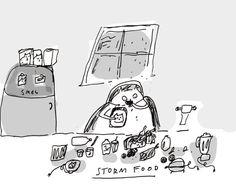 Storm Food Kitchen Art Cat by jamieshelman on Etsy, $24.00