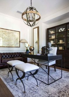 Home Office Space, Home Office Furniture, Home Office Decor, Office Ideas, Furniture Nyc, Masculine Office Decor, Men Office, Office Decorations, Gothic Furniture