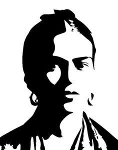Frida Kahlo print Frida Kahlo art Frida poster Black by Ikonolexi