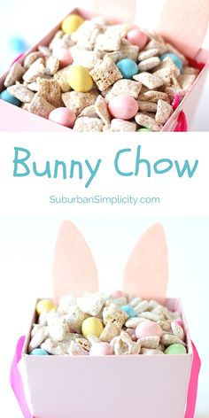 It's easy to turn your Muddy Buddies into an Easter Treat - Bunny Chow!  This tasty Chex Mix recipe idea is good for parties or just snacking.  Careful, it's gone in a flash! #Eastertreatideas #Easter via @https://www.pinterest.com/Erin_Simplicity/