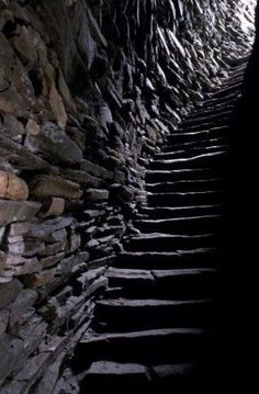 Mousa Broch Shetland Scotland. Stairs in the hollow wall
