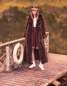 Margot Tenenbaum-inspired spread from Elle Russia // headband, furs coat, skirt, striped socks and sneakers #style #fashion #editorial