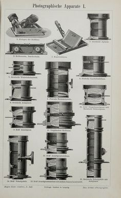 1897 Antique engraving of PHOTO CAMERAS and other photo apparates, lens... 117 years old print.