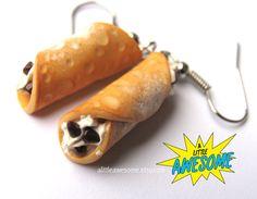 Cannoli Earrings food Jewelry iTALIAN dessert by Alittleawesome