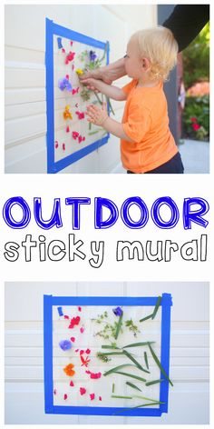 Outdoor Sticky Mural for Toddlers – Jenae {I Can Teach My Child!} Outdoor Sticky Mural for Toddlers Outdoor Sticky Mural: Such a fun outdoor activity for toddlers and preschoolers that uses natural materials to create a beautiful masterpiece! Activities For One Year Olds, Outdoor Activities For Toddlers, Nature Activities, Toddler Learning Activities, Color Activities, Infant Activities, Montessori Activities, Preschool Worksheets, Indoor Activities