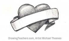 How to Draw a heart with banner Step 4