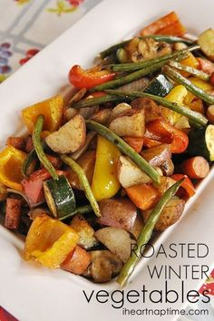 Roasted vegetables...yummy!12 C of vegetables cut into similar size pieces. Use a combination of hard (root) and softer vegetables (carrots, red potatoes, red, yellow, orange peppers, onion wedges, whole garlic cloves, mushrooms, zucchini, green beans etc.) 3/4 C olive oil 1/8 C Worcestershire sauce plus 1 Tbsp 1 1/2 Tbsp paprika 1 Tbsp garlic salt