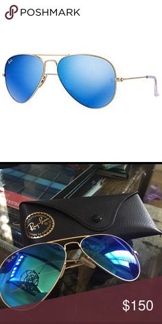 63b8ecac20e0 Ray Ban Aviator Flash Blue Gold Lenses Blue aviator lenses with gold  accents.