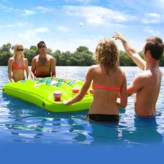 Pongo Bongo Beer Pong Table Kit    Beverage pong is a very popular game these days. There's no better place to play on a hot day than in the water! Pongo Bongo is a floating inflatable game table equipped with 12 cup holders on each side. Kids love carnival games and will play Pongo Bongo for hours. Durable heavy gauge vinyl construction. Hang it from a ceiling in your game room or tether it to a moored boat or dock with the 4 molded rope holders welded to the sides. When you're done…