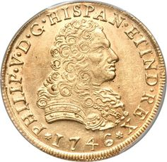 Felipe V gold 8 Escudos 1746-MF, fully brilliant and most attractive with faint handling in the obverse fields. The details on both sides are well-struck and the surfaces are blemish-free. Very rare in mint state and this coin has exceptional eye appeal.