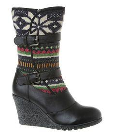 Black Rebecca Wedge Boot