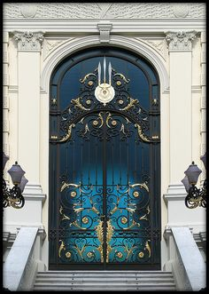 Beautiful Blue Door with Wrought Ironwork