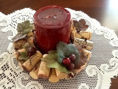 Wine cork candle rings. Fall and Grape design....Wine bottle