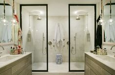 A spacious shower, outfitted with everything from seating to dual shower heads, is meant for relaxation. Here, we share a selection of luxurious shower suites that just might inspire your next bathroom design scheme. Master Bathroom Shower, Next Bathroom, Steam Showers Bathroom, Small Bathroom, Bathroom Ideas, Restroom Ideas, Bathroom Makeovers, Shower Suites, Luxury Shower