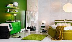 Slaapkamer groen door Sara Sjögren   Inrichting-huis.com