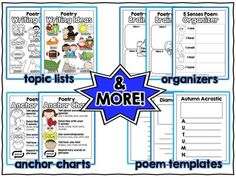Poetry Writing Toolkit with writing ideas, anchor chart, graphic organizers, thematic writing paper & more!