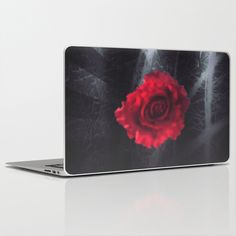 Red rose dark purple indigo metal look grunge laptop skin, $25