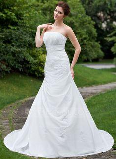 Wedding Dresses - $178.99 - Trumpet/Mermaid Strapless Cathedral Train Taffeta Wedding Dress With Ruffle Lace Beading (002001208) http://jjshouse.com/Trumpet-Mermaid-Strapless-Cathedral-Train-Taffeta-Wedding-Dress-With-Ruffle-Lace-Beading-002001208-g1208