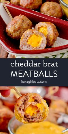 Cheddar Brat Meatballs are homemade bratwurst stuffed with gooey cheddar cheese. Serve with three, easy yet flavor-packed dipping sauces!   iowagirleats.com keywords: appetizer recipes, appetizers for party, gluten free appetizer recipes, ground pork recipes, meatball recipes Gluten Free Appetizers, Appetizers For Party, Appetizer Recipes, Meatball Recipes, Pork Recipes, Low Carb Recipes, Bears Game, Dipping Sauces, Bbq Food