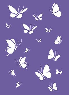 The Little Butterflies Stencils are two different sets of small butterfly stencils. Little Butterflies Stencil 1 and Little Butterflies Stencil 2 can be used individually or together to create a host of pretty butterfly arrangements and themes. Use on furniture, accessories, clothes, cushions and on greetings and invitiation cards. Or use as groups on walls and fabrics to create random flying butterfly effects. See size and layout specifications below.