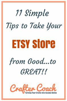 New Etsy Sellers! Do you have a bright shiny new Etsy store but have no idea what to do with it? In this post I will show you how to take your store from good to Great so you can begin making sales sooner. More at craftercoach.com