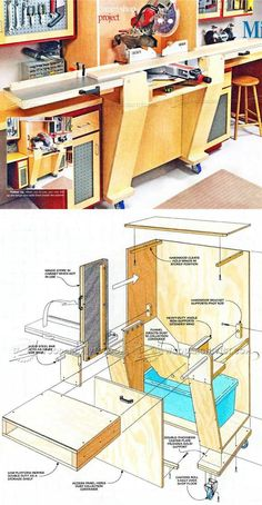 Folding Miter Saw Station Plans - Miter Saw Tips, Jigs and Fixtures   WoodArchivist.com