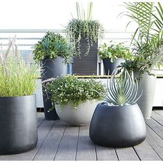 Saabira Fiberstone Tall Planter | Crate and Barrel