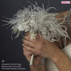 Diamond White Pearl, Rhinestone, Lace Feathered Bridal Bouquet